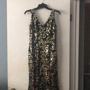 PROM black & gold mermaid dress